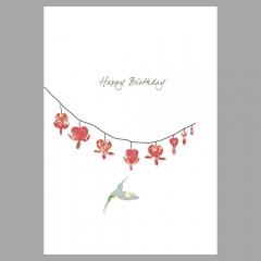 Doppelkarte Trändendes Herz und Kolibri