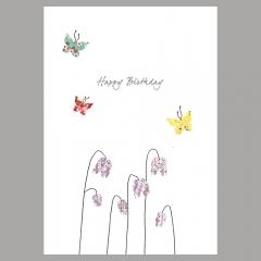 Doppelkarte Kaiserkrone und Schmetterlinge