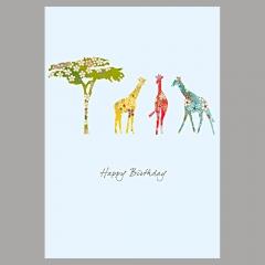 Doppelkarte Giraffen und Baum