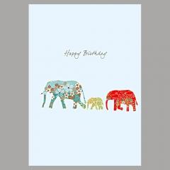 Doppelkarte Elefantenfamilie