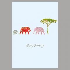 Doppelkarte Elefanten mit Baum