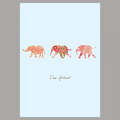 Doppelkarte Elefant/Mädchen