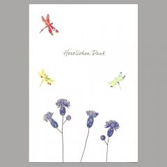 Doppelkarte Danke/Libellen