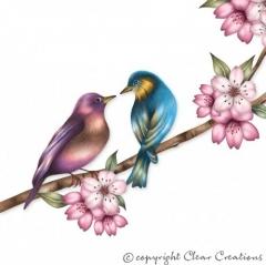 Grusskarte Vögel auf Ast