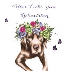 Grusskarte Hund mit Blumen