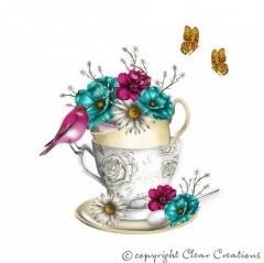 Grusskarte Tasse mit Blumen